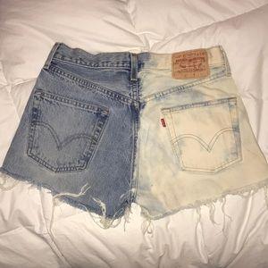 Split acid wash vintage jean shorts